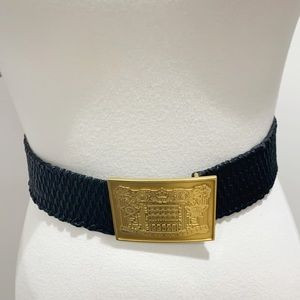 Fendi black stretch leather gold big buckle belt